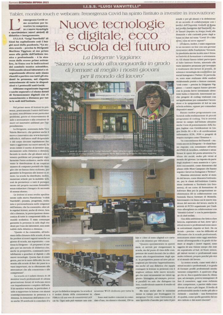 Nuove tecnologie e digitale, la scuola del futuro. (Speciale rapporto Economia Irpinia, quotidiano La Repubblica)